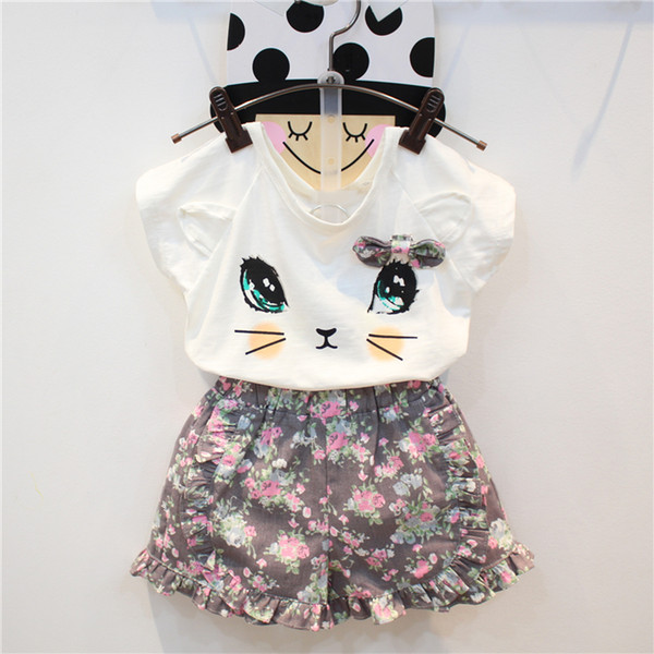 Verano 2019 nuevas niñas arco floral gato manga corta camiseta encaje falda traje algodón