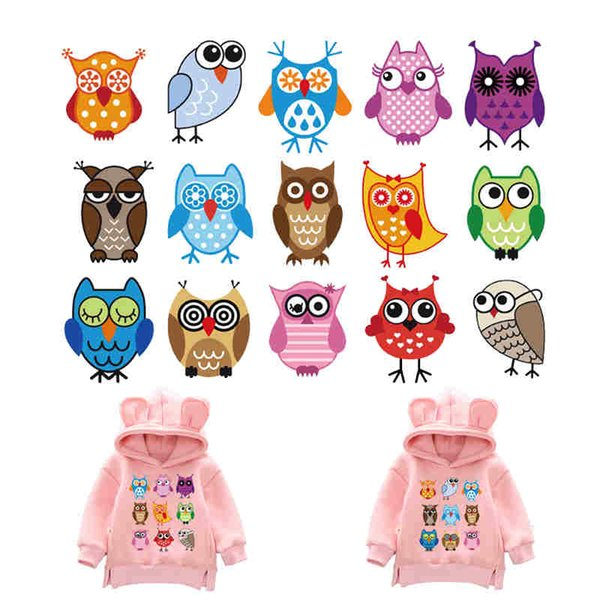 Cartoon Set Patch Baby Owls Hot Vinyl Press Stickers Owl Iron-on Transfer DIY Dress Bags For Kids Clothing Accessories patch