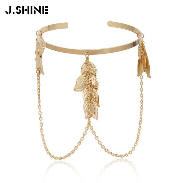 J.Shine Bohemian Leaves Bracciale superiore Bracciale a catena in lega Charms Braccialetti Braccialetti sul braccio da donna Accessori per gioielli Bracciale moda