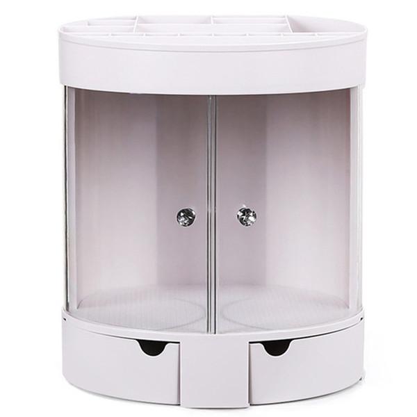 Área de trabalho vestir cosméticos armazenamento de tabelas à prova de poeira cremalheira Batom Jóias Titular Caso Display Stand Cosmetic Box Makeup Organizer