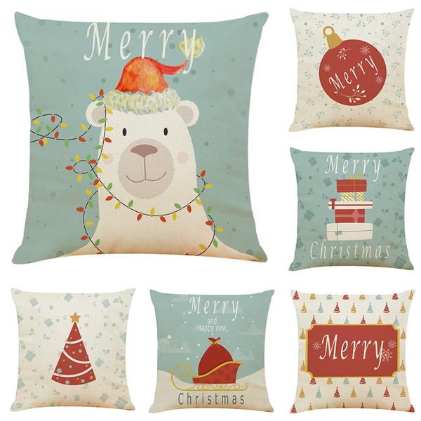 Dibujos animados Fundas de cojines de lino de Navidad Sofá de la oficina en casa Funda de almohada cuadrada Fundas de almohada decorativas sin inserto