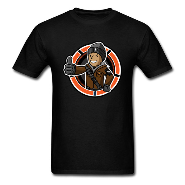 Slim Fit Men's Tshirt Fallout 4 76 T-shirt Casual Division Boy T Shirt On Sale Funny Gamer Gesture Print Tees Hip Hop Guys Tops