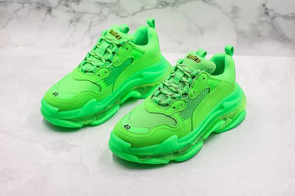 paris triple-s lime green grandpa shoes