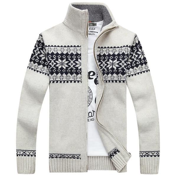 2019 Novo Masculino Cardigan Masculino Chegada Outono Homens Camisola Casaco de Moda de Qualidade Zipper Snowflake Camisola de Natal