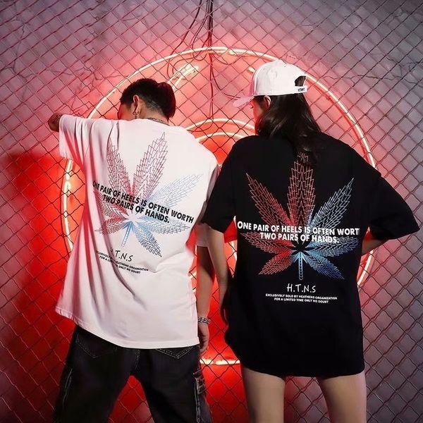 Постный 2019 Новый дропшиппинг кленовый лист печати футболка мужчины и женщины прилив бренд свободные шею лето студент прилив Инс супер огонь SH190813