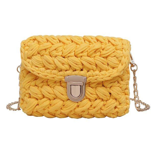 2019 New Fashion Hot INS Woven Knitting Handbag Women Cotton Fabric Handmade Messenger Bag Female Flaps Crossbody Shoulder Bag