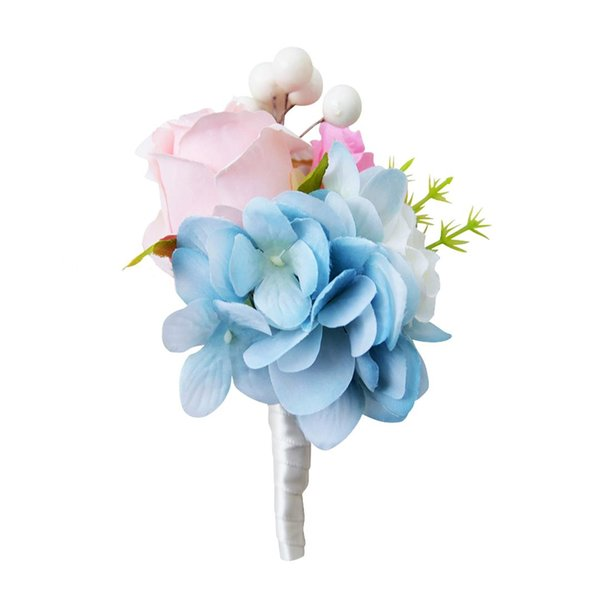 6*12 Cm The Bride Corsage Wedding Bridal Groom Crystal Boutonniere Corsage Rose Silk Flower Ivory/Purple/Yellow/Blue