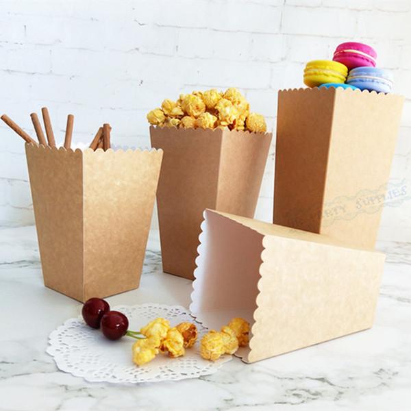 36pcs Kraft Paper Popcorn Bag Gitter Sticker Popcorn Box Candy Snack Trattare i bambini sacchetti di imballaggio di favore Decorazione di compleanno di nozze
