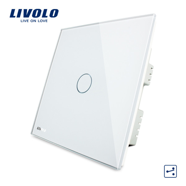 LIVOLO, Touch Switch, 1-gang 2-way UK Touch Light Switch AC 220-250V with LED indicator, White Crystal Glass Panel