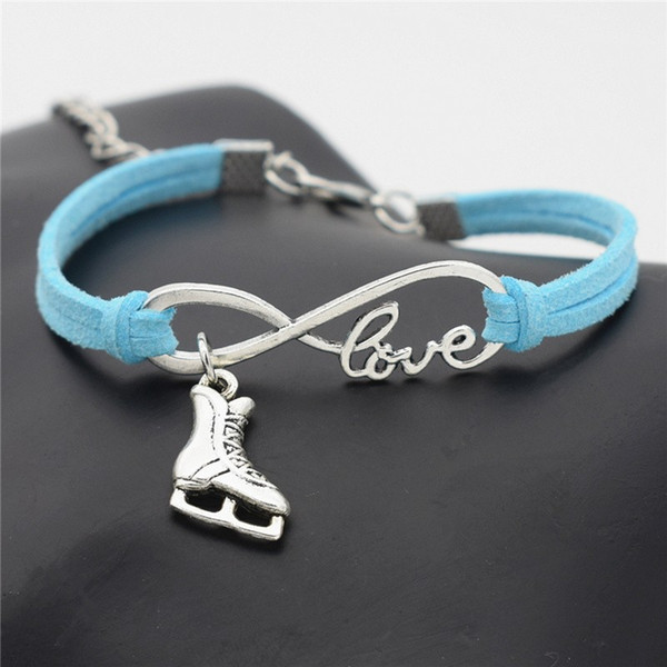 Infinity Love Ice Roller Skates Pendant DIY Charm Bracelet For Women Men Unique Lucky Blue Leather Suede Rope Jewelry Family Friendship Gift