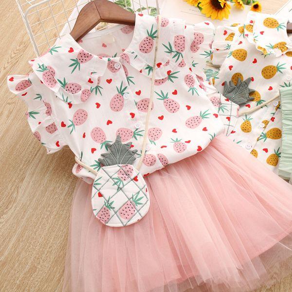 Latest design baby girls summer outfits dress set Pineapple printed baby girl cute T-shirt +tutu skirts 2pcs clothing set children mesh set