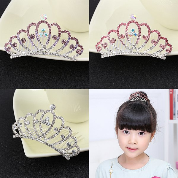 Bridal Wedding Jewelry Crystal Hair Combs Women Girls kids Crystal Crown Tiaras Shinning Rhinestone crown for Party Gifts