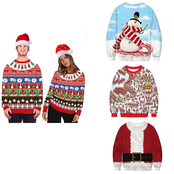 best selling New Santa Digital Print Women's T-Shirt Sweater Long Sleeves Couples Sweatshirts Loose Pullover Christmas Novelty Autumn Winter Top Clothing