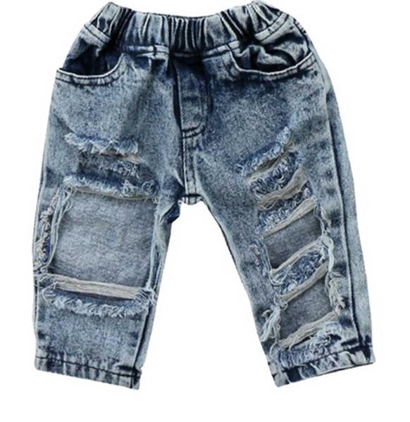 New Baby Kid Девушки Джинсовые Джинсы Ripped Patch Летние повседневные брюки Мода