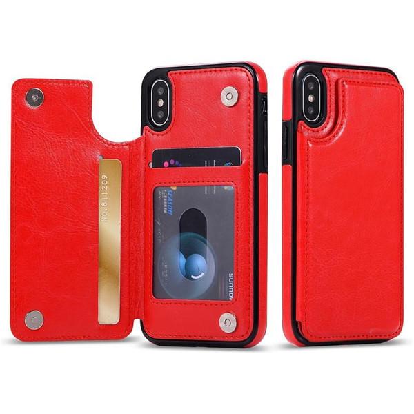 Multifunción Funda monedero de lujo de cuero de la PU del teléfono celular Volver caso cubierta con ranuras para tarjetas de crédito para iPhone Xs Max Xr S10 Lite 9 8 Plus Samsung