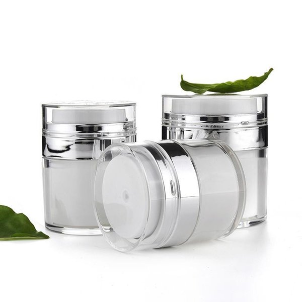 15ml 30ml 50ml Frasco cosmético Vacío Crema para latas de acrílico Botella de vacío Airless Recargable Recipiente de loción Botella de bomba Bomba