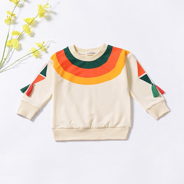 Toddler Kids Baby Girls Outfits Sweatshirt Rainbow Tops Tassel T-shirt Blouse Kids Boys Cotton Casual Long Sleeve Hoodies 1-5T