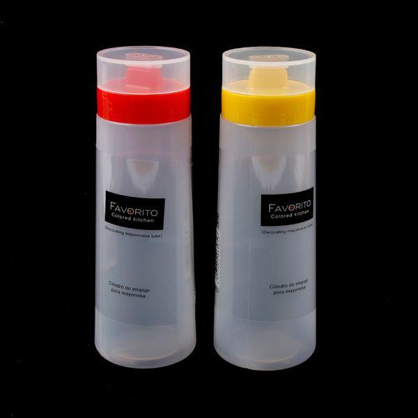 New Kitchen Plastic Squeeze Bottle Condiment Dispenser For Sauce Vinegar Oil Salad Ketchup Dressing Bottle 4 Holes ZJ0933