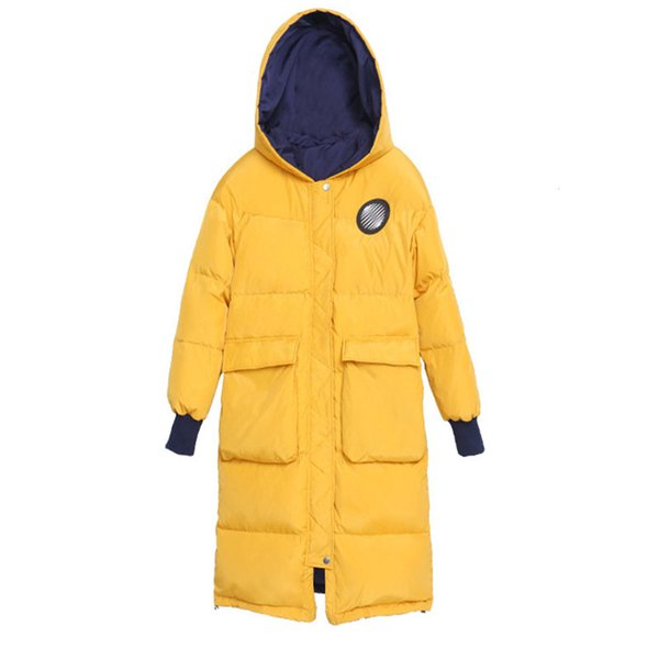 311bdf0bd 2019 High Quality 2019 Winter New Women Yellow And Dark Blue Reversible  Hooded Long And Warm Thick Duck Down Jacket From Jellwaygood, $158.85 | ...