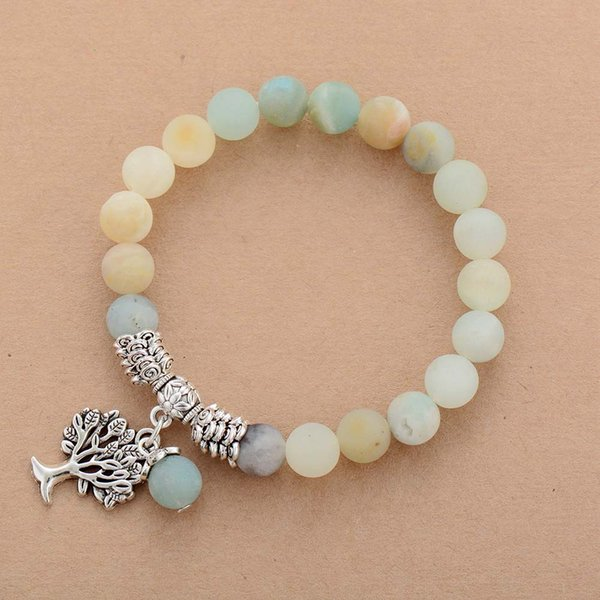 Womens Cham Bracelets Matte Amazonite Tree Pendant Bracelet Natural Stone Fancy Bead Bracelet Jewelry Dropship
