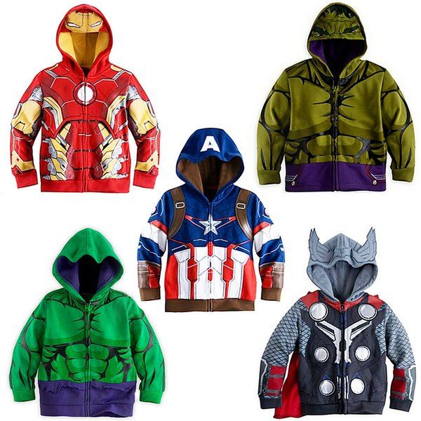 2018 Spring Autumn Boys Jacket For Boys Spiderman Avengers Iron Man Hooded Jacket Kids Warm Outerwear Coat Children Clothes