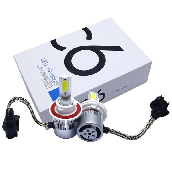 All In One H13 Hi-Lo Beam Car LED Headlight 2-COB 6500K 72W 7600LM LED Bulb Foglight Headlamp #2888