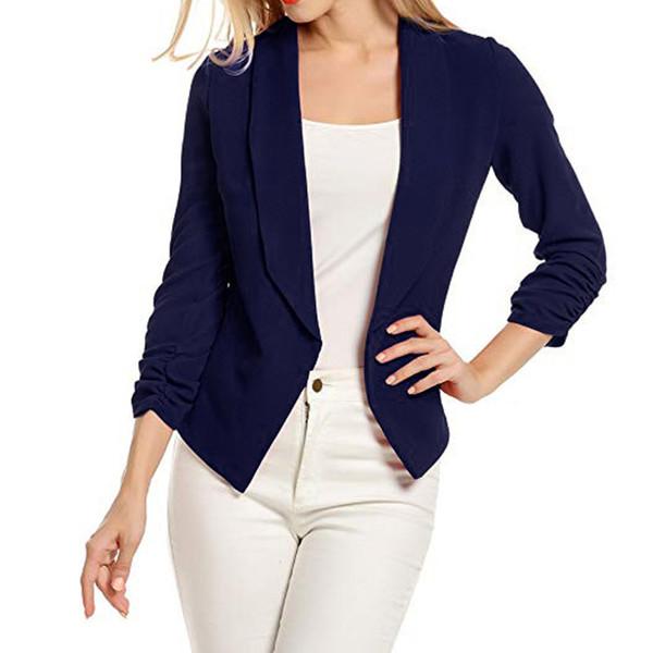 Women Work Office Coat 3/4 Sleeve Blazer Open Front Short Cardigan Suit Jacket office wear for women conbinaison femme shorts