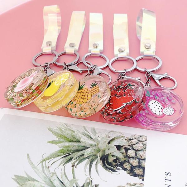 Персонализированные Творческий фрукты Акриловые брелок Подвеска Жидкое Floating Quicksand бутылки Keychain сумка Подвеска дамы подарок ювелирных изделий