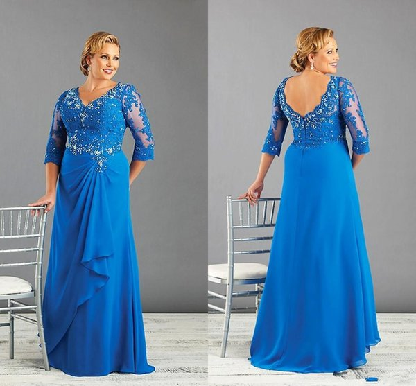 Plus Size Special Occasion Dresses Crystal Lace V-Neck 3/4 Sleeves Backless Evening Gowns Chiffon Floor Length Mother Of The Bride