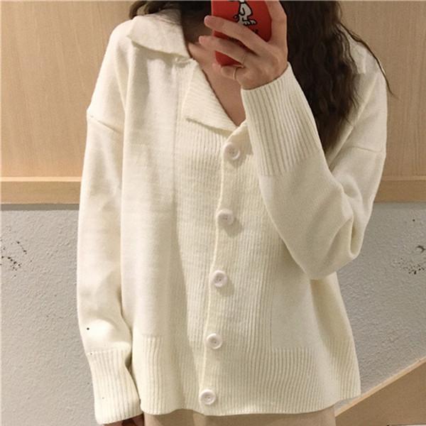 Loose Casual Mujer Cardigan Suéter Empalme Botón Simple Sólido de gran tamaño Suéter Mujer Coreana Delgada Fina Suéteres de punto Mujeres