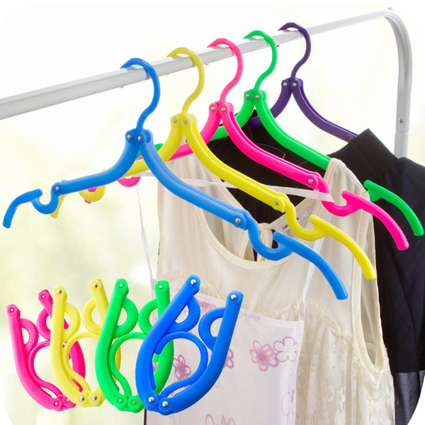 New Multifunctional Hangers Space Saver Travel Portable Folding Hanger Rack Outdoor Clothes Hangers Magic Plastic Antiskid Racks WX9-612