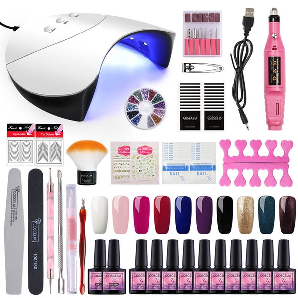 best selling Manicure Set Nail Gel Polish Kit Nail Lamp Dryer US EU Plug With Soak Off Varnish Extension Set For Manicure Nail Art Tool