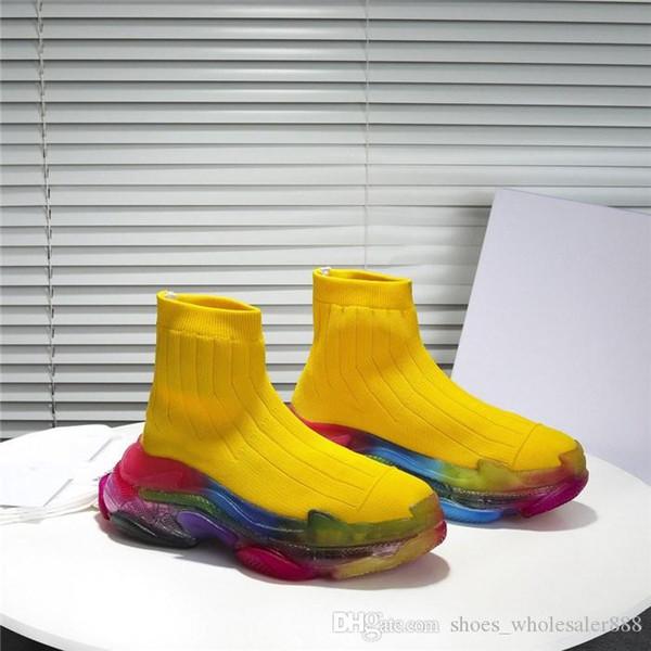 Mulheres homens oversized meias tênis com arco-íris cor transparente sola, causais corredores meia botas com texturizados superior único tamanho 35-45