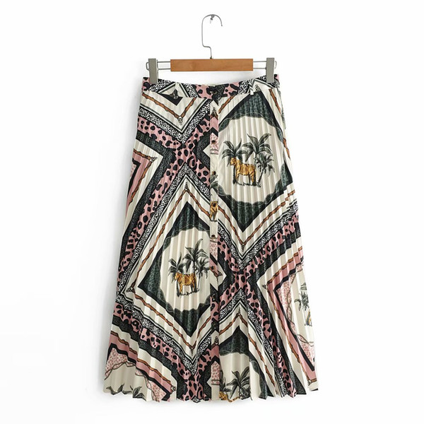 2019 New Women Vintage tiger texture patchwork print buttons pleated midi skirt faldas mujer ladies chic mid-calf skirts QUN323