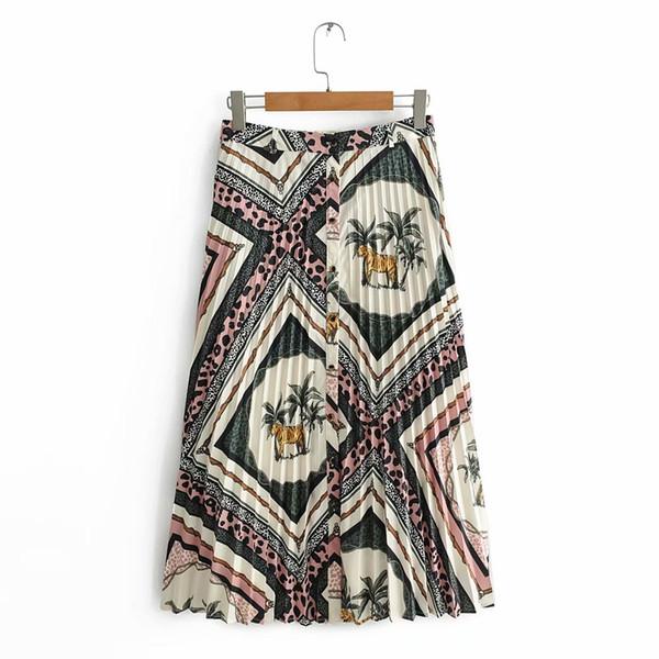 2019 Novas Mulheres tigre Vintage textura patchwork botões de impressão saia midi plissada faldas mujer senhoras chique meados de bezerro saias QUN323
