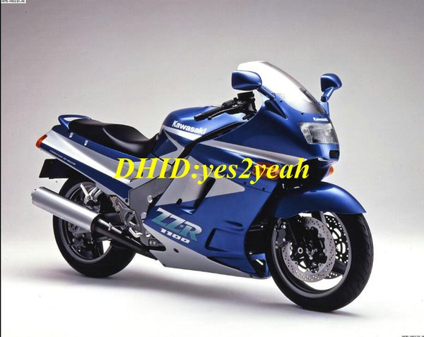 Kit de carenado de motocicleta para KAWASAKI Ninja ZZR1100 90 91 92 ZZR 1100 ZX11 1990 1991 1992 ABS Conjunto de carenados azul rojo + regalos ZD05