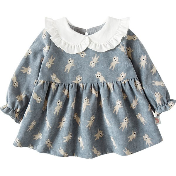 Kids Clothes 2018 New Girls Peter Pan Collar Cartoon Print Long-sleeved Girls Baby Dress Baby Clothing Dress 0-4t Y19061001