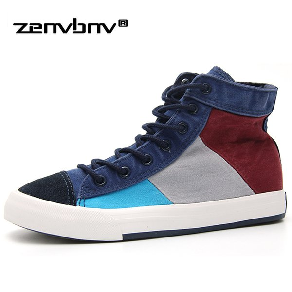 ZENVBNV New Spring/Summer Men Casual Shoes Breathable High-top Lace-up Canvas Shoes Espadrilles Fashion Walking Flat Men Sneaker