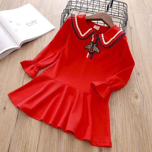 Diseñador LOGO Vestido de niña vestido de cuello de muñeca estilo universitario versión coreana de la niña abeja bordada plisada bordada