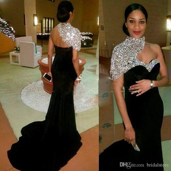 Dubai 2018 Elegant Black Mermaid Prom Dresses High Neck Beaded Rhinestone Backless Sweep Train Formal Evening Party Gowns Wear Cheap Tails