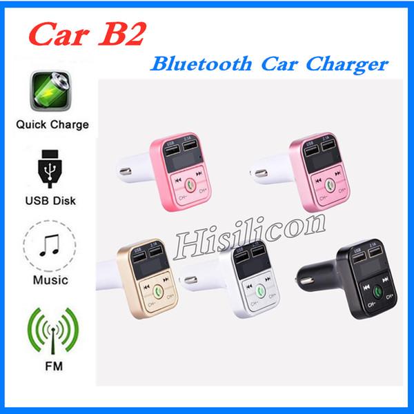 Самый дешевый розничный автомобиль B2 многофункциональный передатчик Bluetooth 2.1 A Dual USB Car charger FM MP3 Player Car Kit поддержка TF-карт громкой связи