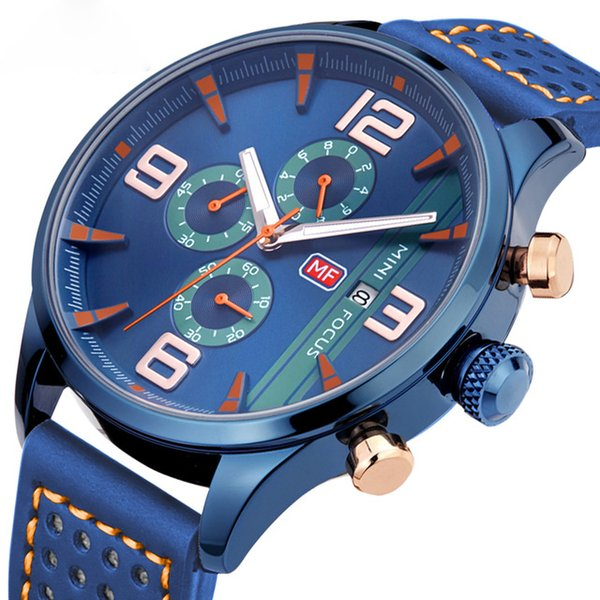 Marine Chronograph Watch Men Quartz Analog Clock 3 Dial 6 Hands Contrast Color blue Fashion leather strap Military Wrist Watches