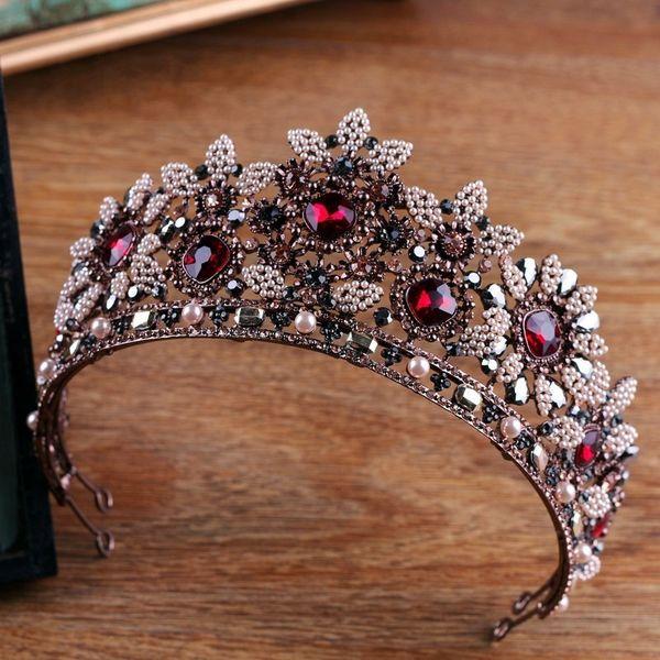 Vintage Baroque Crystal Beads Pearl Bridal Tiaras Rhinestone Pageant Crown Bride Hairband Vine Tiara Wedding Hair Accessories C18122501