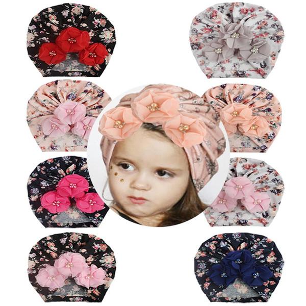 Nuevo accesorio para el cabello de joyería de algodón para niños, sombrero para la cabeza de cuatro perlas estampado para bebés, estampado floral para niños, cuentas para el cabello con flores