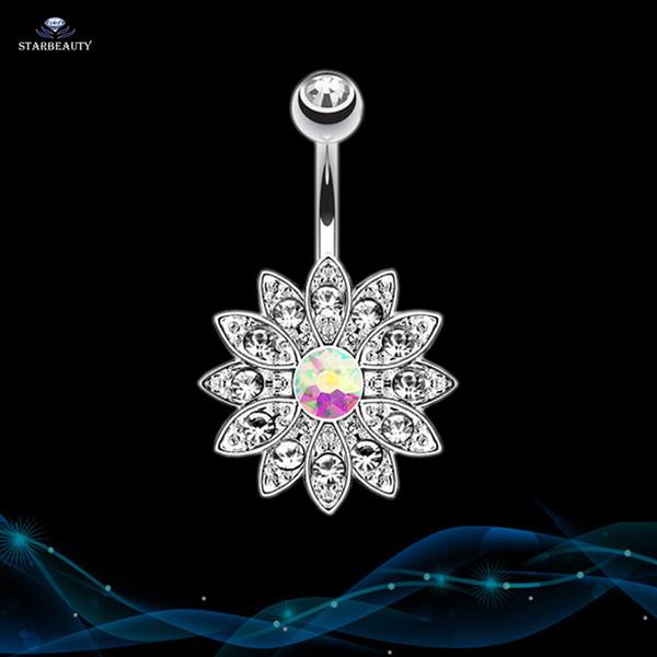 14G Sun Flower Petal Piercing Ombligo Argent Cristal Rose Nombril Anneaux Body Piercing nombril Pircing Piercing nombril