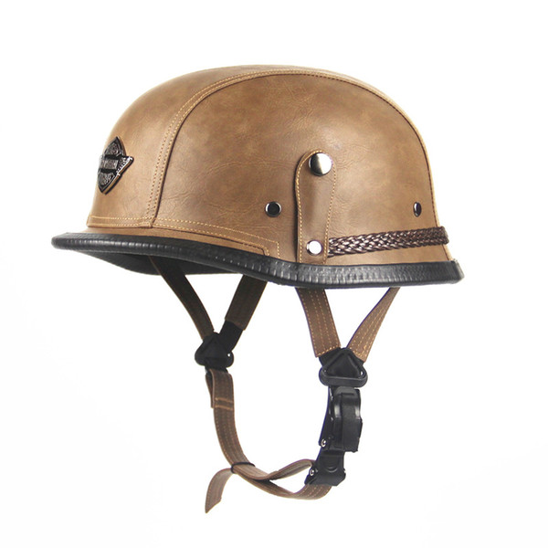 German Open Face Half PU Leather Helmet Moto Motorcycle Helmet World War II Retro Helmet Summer Retro For Halle Electric Helmets
