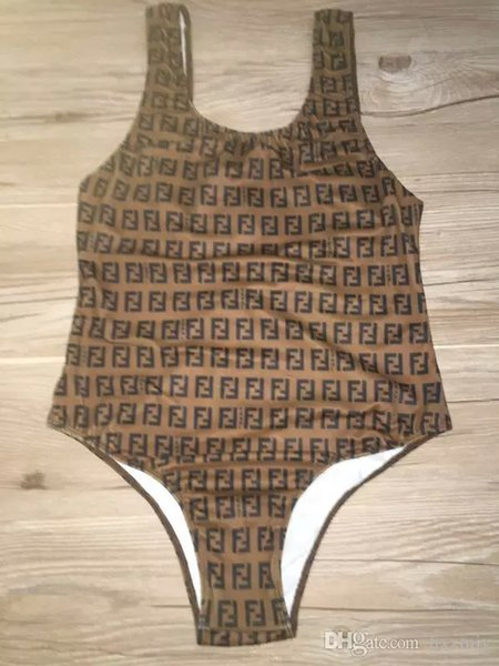 2019 esportes sportswear clássico das mulheres retro flor velha letra F logo Slim one-piece swimsuit marrom