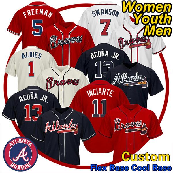 Homens Atlanta Braves Jerseys Ronald Acuna Jr. Austin Riley 27 Ozzie Albies Freddie Freeman Dansby Swanson Chipper Jones 10