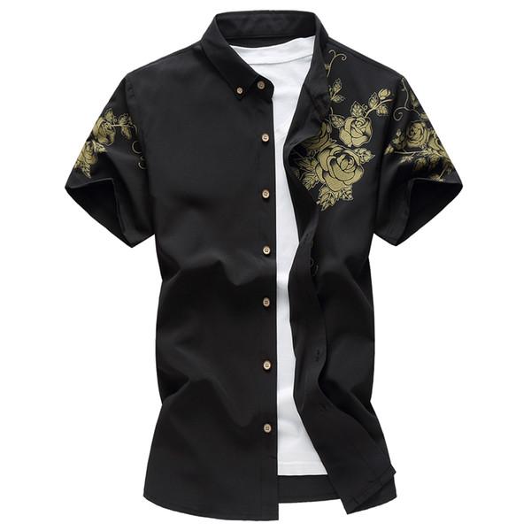 2019 New Flower Printed Men Shirts Short Sleeve Black White Dress Slim Fit Blouse Man Plus Size High Quality Social Shirt Male
