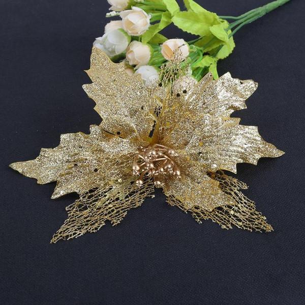 Новый блеск полые цветочные украшения Цветы для новогодних елок на новогодние елочные украшения свадьба декор